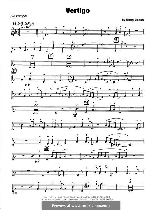 Vertigo: 3rd Bb Trumpet part by Doug Beach