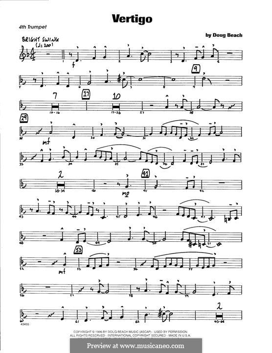 Vertigo: 4th Bb Trumpet part by Doug Beach