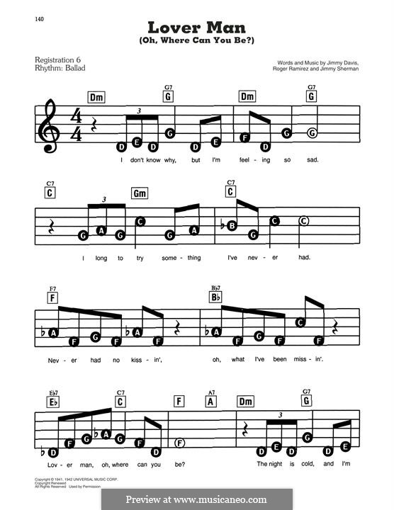 Lover Man (Oh, Where Can You Be?): For easy piano by Jimmie Davis, Jimmy Sherman, Roger Ramirez