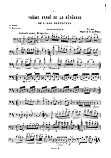 String Trio No.2 in D Major 'Serenade', Op.8: Movement V, for violin (or cello, or flute) and piano – cello part by Ludwig van Beethoven