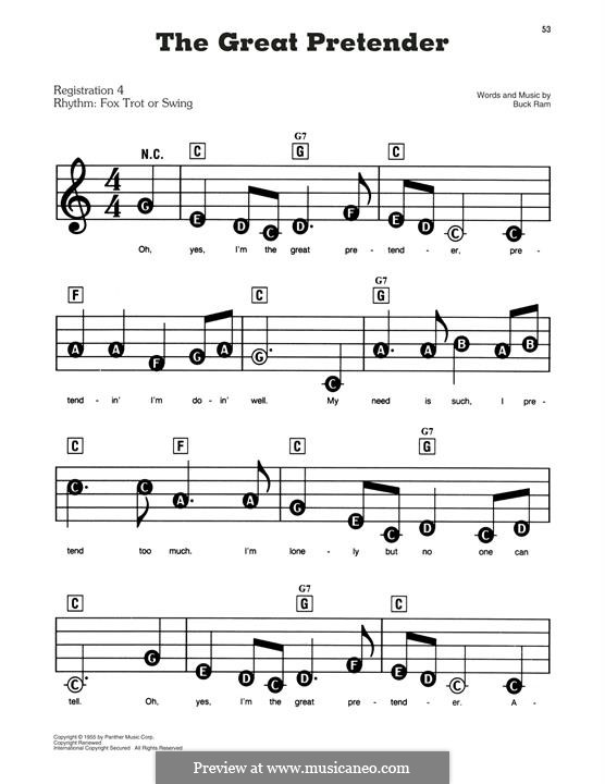 The Great Pretender (The Platters): For easy piano by Buck Ram