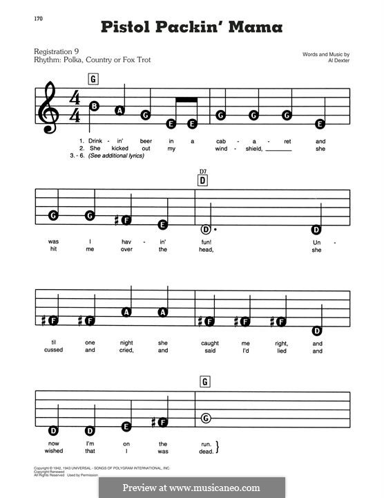 Pistol Packin' Mama (The Andrews Sisters): For easy piano by Al Dexter
