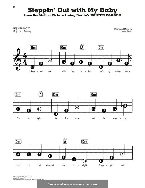 Steppin' Out with My Baby: For easy piano by Irving Berlin