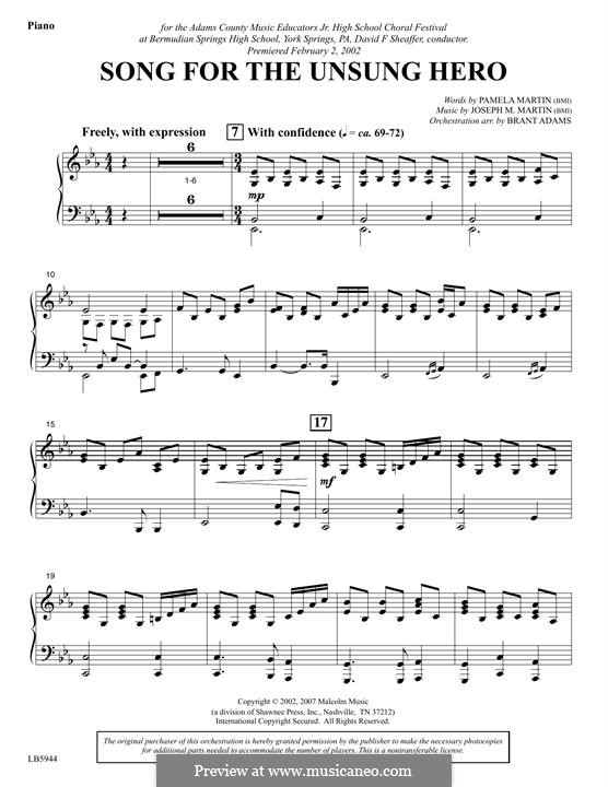 Song for the Unsung Hero: Piano part by Joseph M. Martin