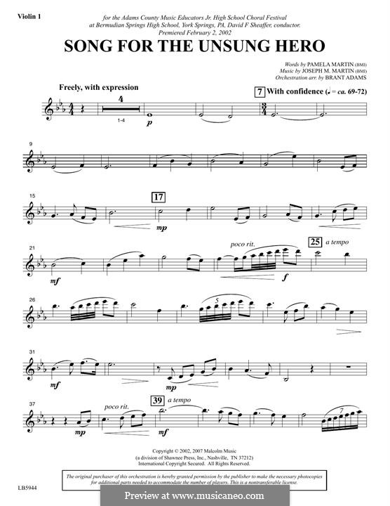 Song for the Unsung Hero: Violin 1 part by Joseph M. Martin