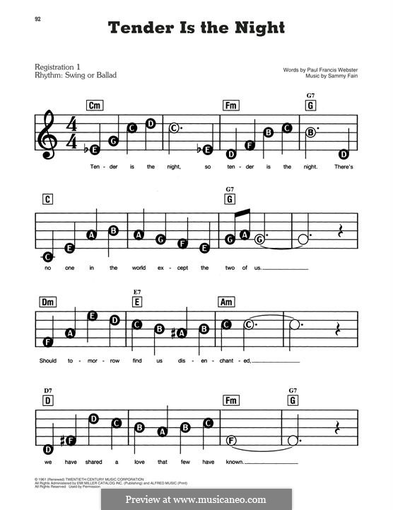 Tender Is the Night (Tony Bennett): For easy piano by Paul Francis Webster, Sammy Fain