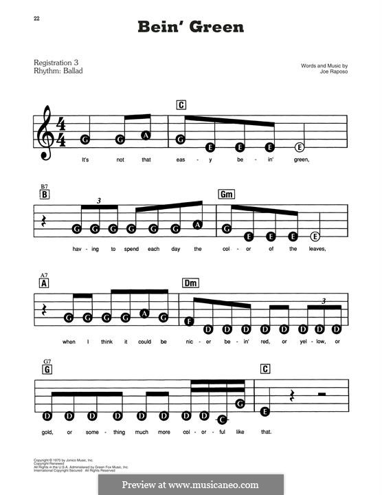 Bein' Green (Kermit the Frog): For easy piano by Joe Raposo