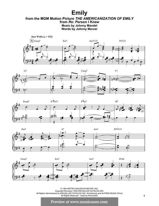 Emily (from The Americanization of Emily): For easy piano by Johnny Mandel