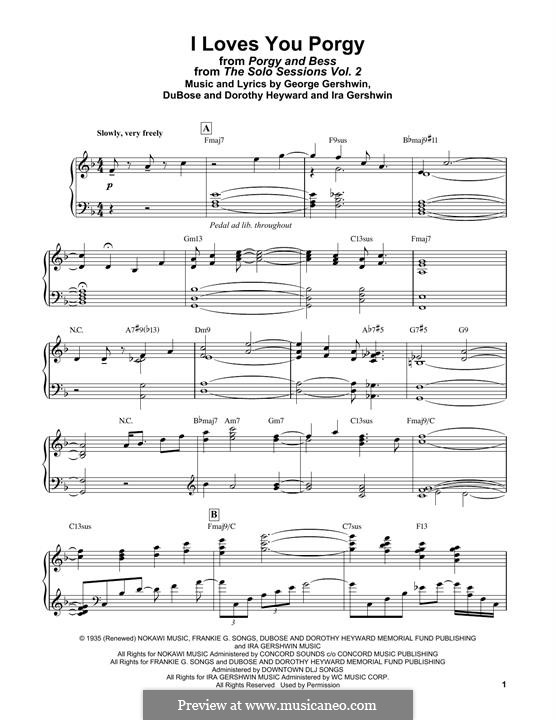 I Loves You, Porgy: For easy piano by George Gershwin