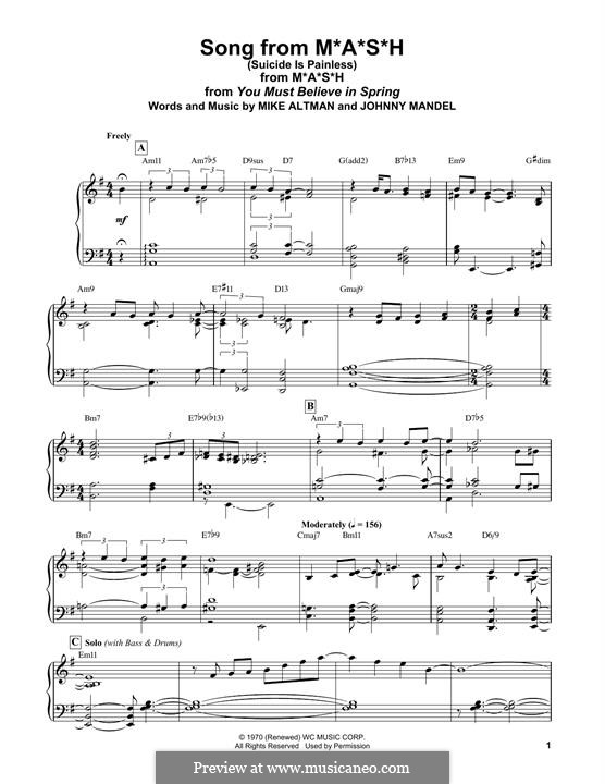 M.A.S.H. (Suicide is Painless): For easy piano by Johnny Mandel