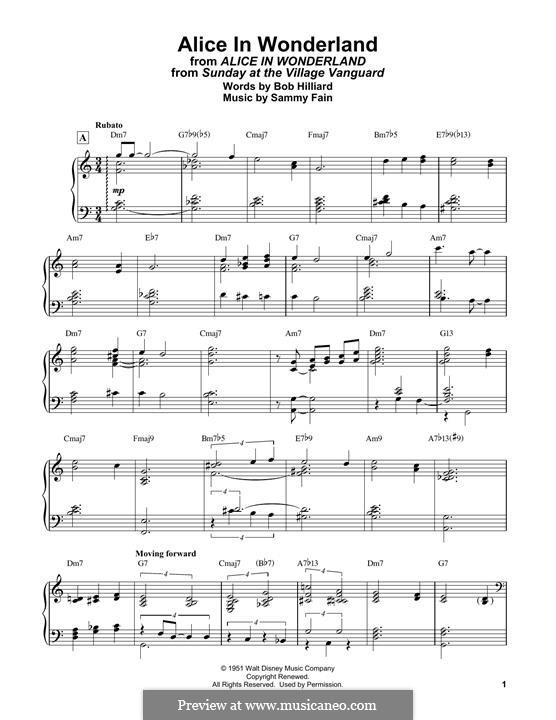 Alice in Wonderland (Bill Evans): For easy piano by Bob Hilliard, Sammy Fain