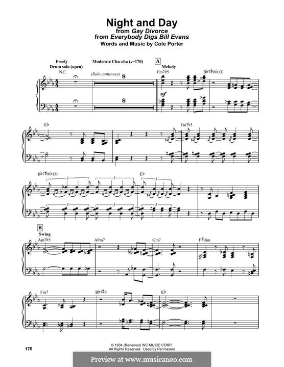 Night and Day (Frank Sinatra): For easy piano by Cole Porter