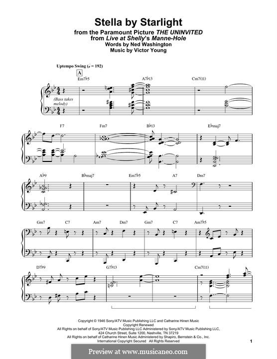 Stella By Starlight: For easy piano by Victor Young