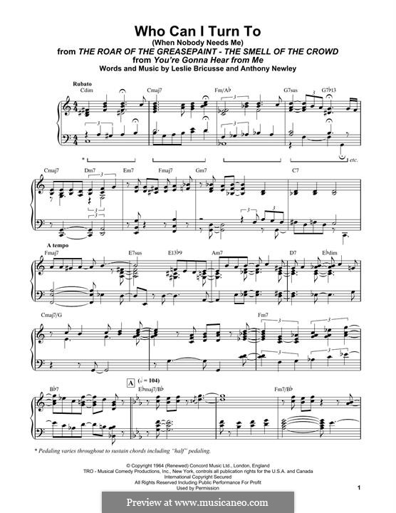 Who Can I Turn To?: For easy piano by Anthony Newley, Leslie Bricusse