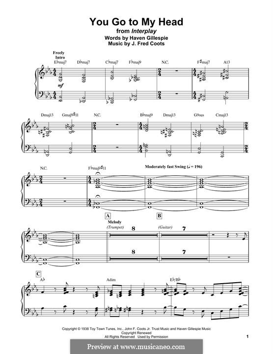 You Go To My Head (Frank Sinatra): For easy piano by J. Fred Coots
