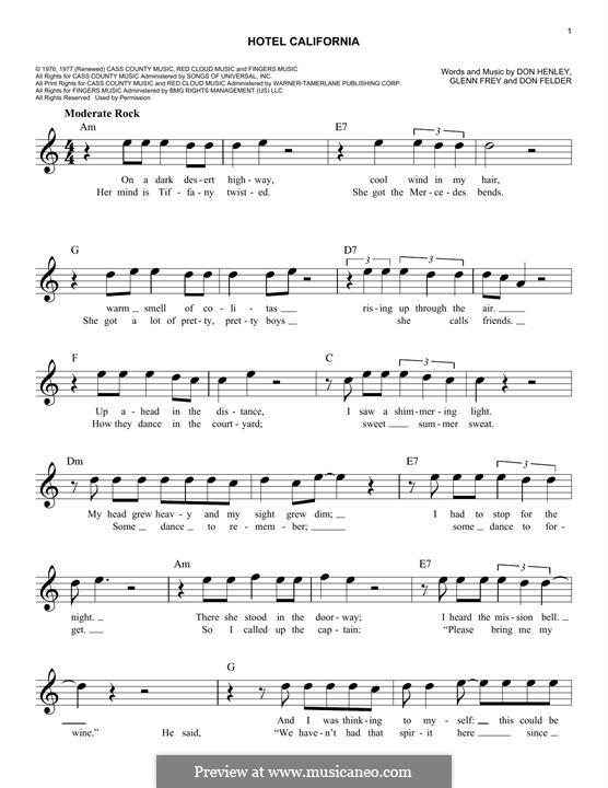 Hotel California (The Eagles): For keyboard by Don Felder, Don Henley, Glen Frey