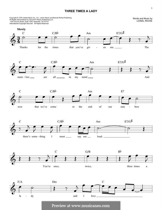 Three Times a Lady: For keyboard by Lionel Richie