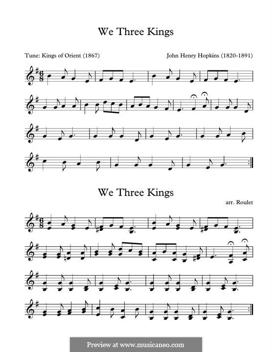 We Three Kings of Orient are (Printable Scores): For marimba by John H. Hopkins Jr.
