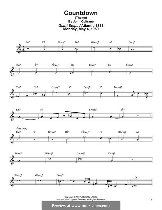 Countdown: For tenor saxophone by John Coltrane
