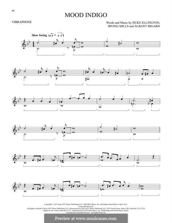 Mood Indigo: For vibraphone by Irving Mills, Albany Bigard, Duke Ellington