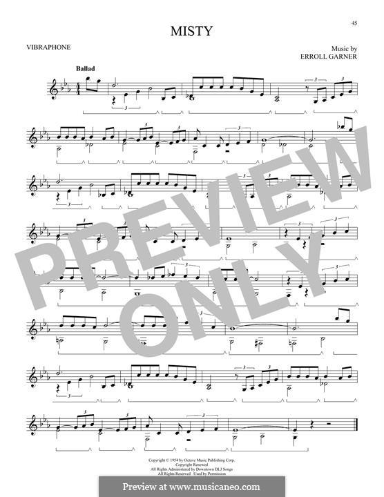 Misty (Johnny Mathis): For vibraphone by Erroll Garner