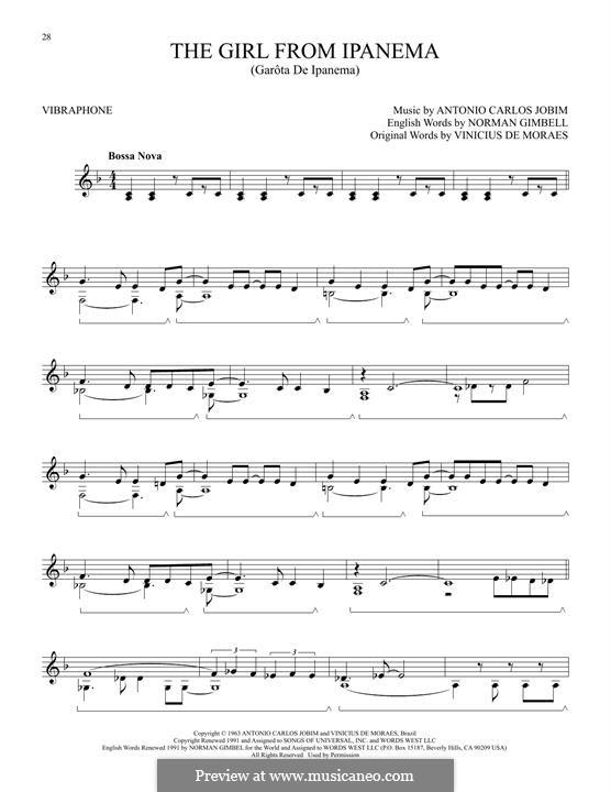 The Girl from Ipanema (Garota de Ipanema): For vibraphone by Antonio Carlos Jobim
