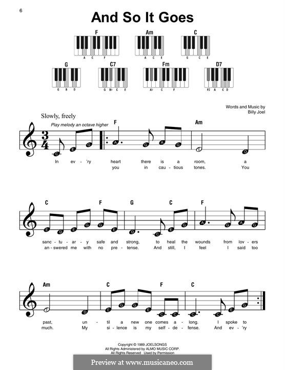 And So It Goes: For easy piano by Billy Joel