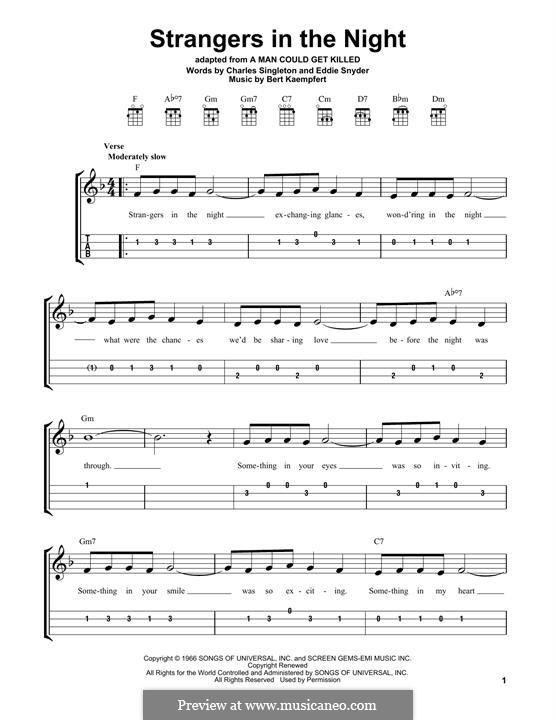 Strangers in the Night (Frank Sinatra): For ukulele by Bert Kaempfert