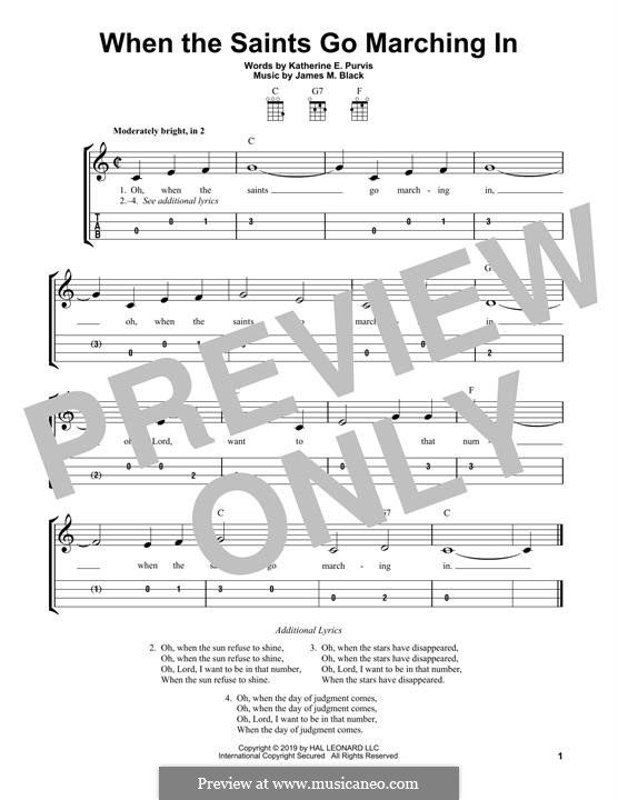 When the Saints Go Marching In: For ukulele by James Milton Black