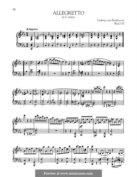 Allegretto in C Minor, WoO 53: For piano by Ludwig van Beethoven