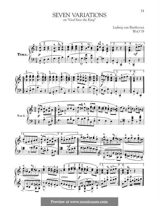 Seven Variations on English Song 'God Save the King', WoO 78: For piano by Ludwig van Beethoven