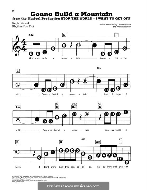 Gonna Build a Mountain: For easy piano by Anthony Newley
