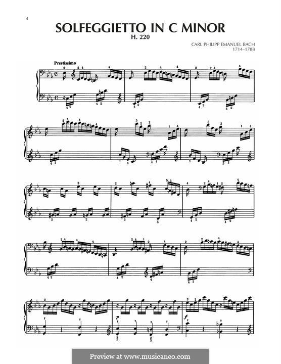 Solfeggietto, H 220 Wq 117:2: For piano by Carl Philipp Emanuel Bach