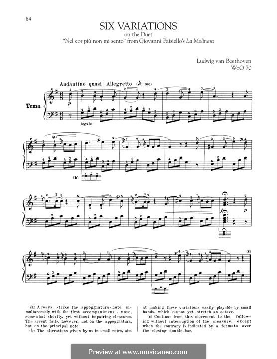 Six Variations on 'Nel cor più non mi sento' from 'La Molinara' by G.Paisiello, WoO70: For piano by Ludwig van Beethoven