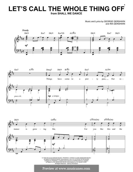 Let's Call the Whole Thing Off: For voice and piano (jazz version) by George Gershwin