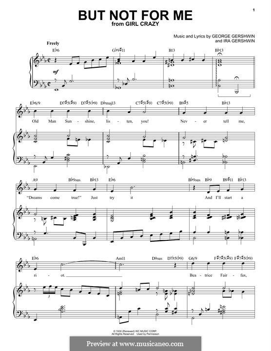 But not for Me: For voice and piano (jazz version) by George Gershwin