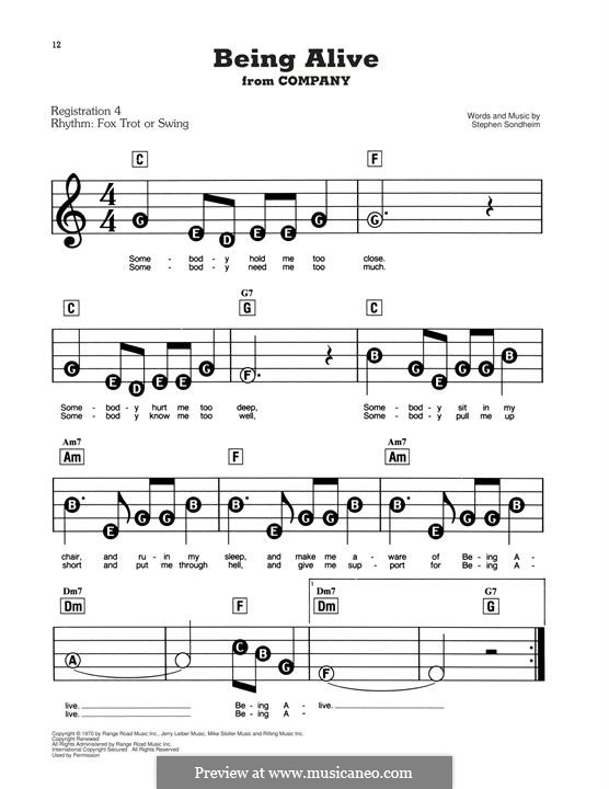 Being Alive (from Company): For easy piano by Stephen Sondheim