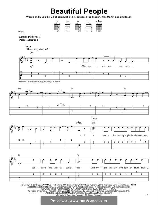 Beautiful People (feat. Khalid): For guitar by Ed Sheeran, Shellback, Max Martin, Fred Gibson, Khalid Robinson
