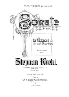 Sonata for Cello and Piano in F Major, Op.20: Score by Stephan Krehl