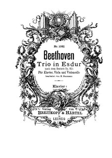 Sextet in E Flat Major, Op.81b: Version for viola, cello and piano by Ludwig van Beethoven