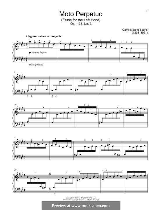Six Etudes for the Left Hand, Op.135: No.3 Moto Perpetuo by Camille Saint-Saëns