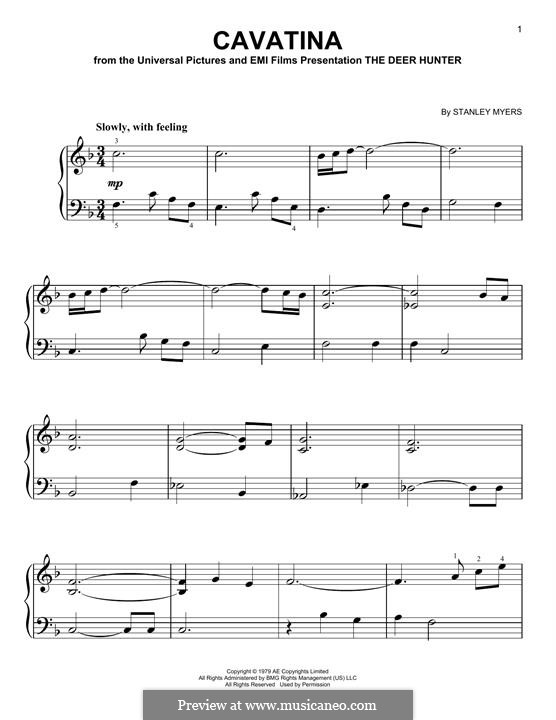 Cavatina (from The Deer Hunter): For easy piano by Stanley Myers