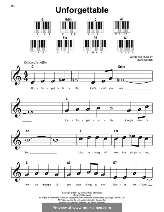 Unforgettable: For easy piano by Irving Gordon