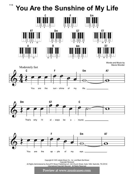 You are the Sunshine of My Life: For piano by Stevie Wonder