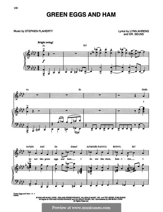 Green Eggs and Ham (Dr. Seuss): For voice and piano by Stephen Flaherty