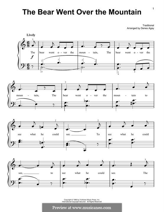 The Bear Went Over the Mountain: For piano by folklore