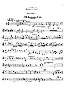 Grande Messe des morts (or Requiem), H.75 Op.5: Clarinets parts by Hector Berlioz