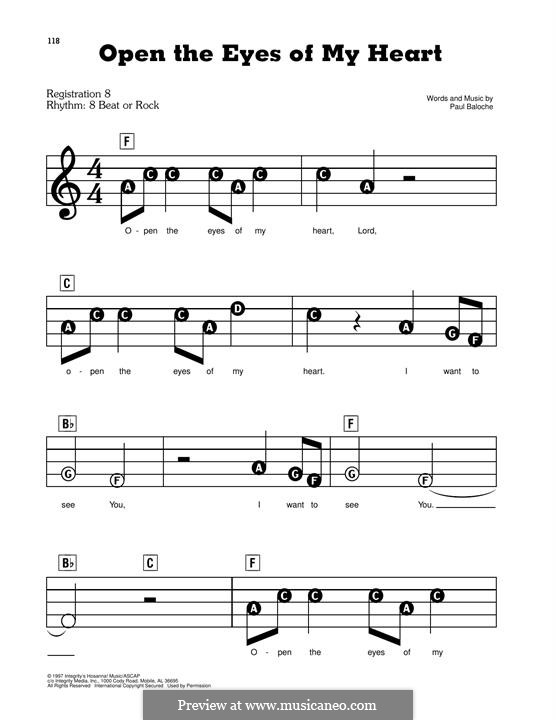 Open the Eyes of My Heart: For easy piano by Paul Baloche