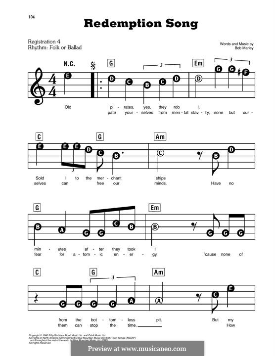 Redemption Song: For easy piano by Bob Marley