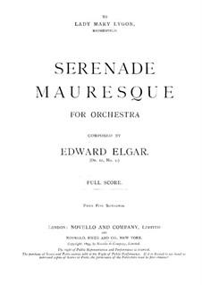 Three Characteristic Pieces, Op.10: No.2 Sérénade Mauresque – full score by Edward Elgar